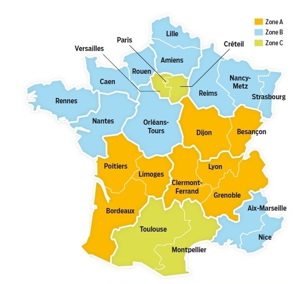 carte de france zone scolaire