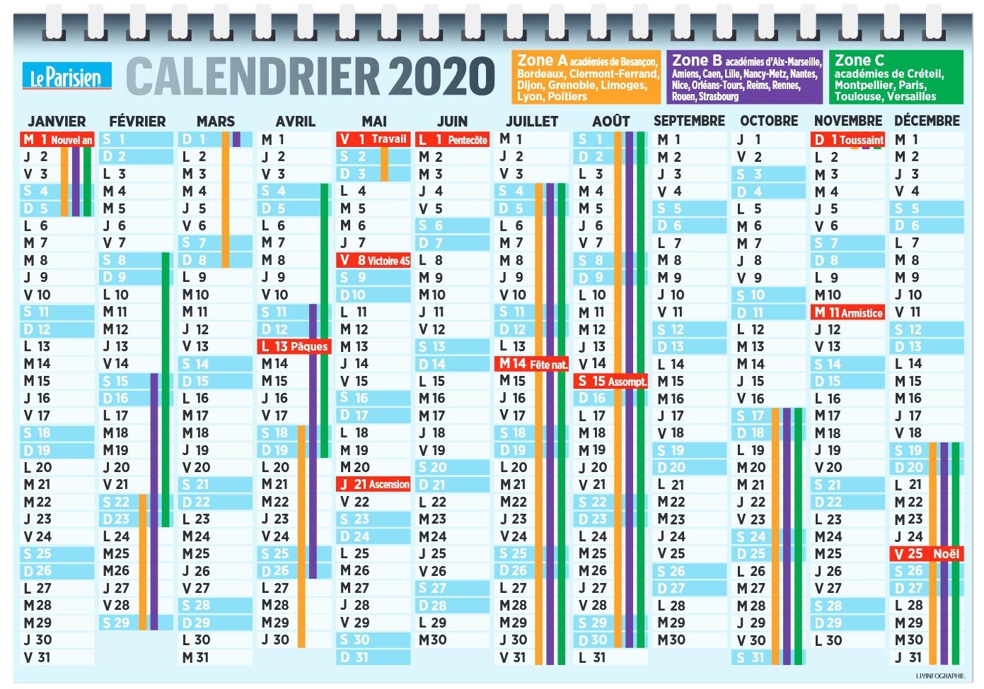 Calendrier Année Scolaire 2019 Et 2021 Dates de la rentrée 2020 et des vacances   Pratique   Le Parisien